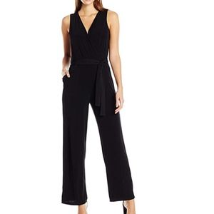 NY Collection Sleeveless Tie Jumpsuit Petite